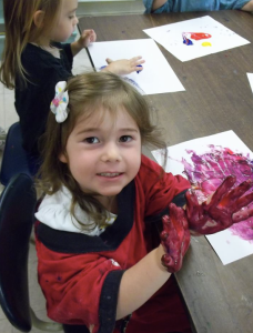 Finger Painting at CAST Preschool and Childcare Center